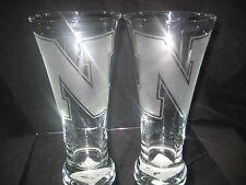 NEBRASKA CORNHUSKERS 2 ETCHED LOGO 20oz PILSNER GLASSES