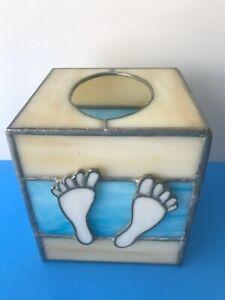 STAINED GLASS TISSUE BOX Beach Theme Sea Blue Sand Tan Bare FEET Handmade Cube