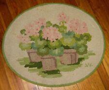 "Vintage George Wells Long Island NY Hooked Rug - Flowers - 31"" x 26"""