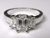 1.32 Carat Three Stone Classic Emerald Cut Diamond Engagement Ring VS2