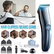 Men Hair Clipper Shaver Beard Razor Beard Styling Comb+Bib Set w/ Chargi /m