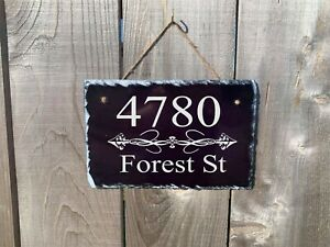 Personalized Home Address Plaque Made with Slate Custom House Number Sign sl09