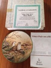 Royal Doulton Otter Pair On A River Bank Collectors Plate No 7563C Good