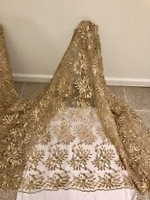 "GOLD MESH W/GOLD METALLIC EMBROIDERY  LACE FABRIC 50"" WIDE 1 YARD"