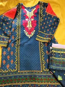 Winters Shalwar Kameez Khaddar with Linen Dupatta Stitched Medium Uk Size
