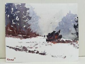 Couple walking in snow landscape Original watercolour painting art