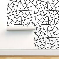 Peel-and-Stick Removable Wallpaper Abstract Black Geometric White And