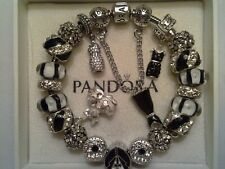 Authentic Pandora Sterling Silver Oxidized Bracelet with(Murano Glass Beads) 7.9
