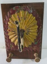 ANTIQUE IRON hook SUNFLOWER CARVED WOOD COLOR PANEL WALL FIXTURE hOME DECOR