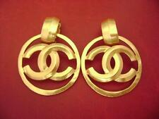 Chanel CC logo dangle jumbo size clips hoop earrings