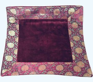 Cushion Cover: Breeze Pink, Gold Flowers and Green Reeds Border (cover only)