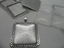 10 Antique Silver Square  Pendant Making Set,Settings & Cabochons.,tray 25mm