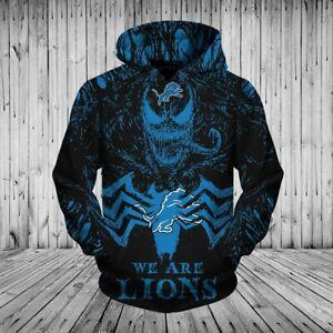 Detroit Lions Men's Halloween Pullover Hoodie Venom Spider-man Hooded Sweatshirt