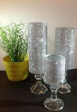 3 Set candle holder glass wedding centerpieces tall Crystal tower holder Silver