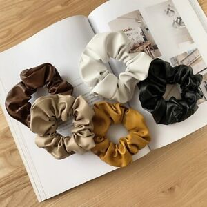 Earth Tones Color Scrunchie Matte PU Leather Minimalist Neutral Ponytail Band