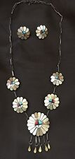 VINTAGE L/L Dickson WHITE MOTHER of pearl Inlay Sun Face NECKLACE Earing Set