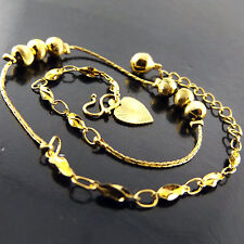 ANKLET BRACELET GENUINE 18K YELLOW G/F GOLD ANTIQUE BEAD HEART CHARM DESIGN