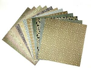 12X12 Scrapbook Paper Lot 12 Sheets Vintage Prints Card Making L204