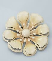 Vintage Enamel Flower Brooch Pin Painted Beige White Gold Tone Metal Layered