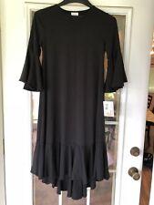 LuLaRoe MAURINE DRESS BLACK Solid Flounce XS Extra Small NEW