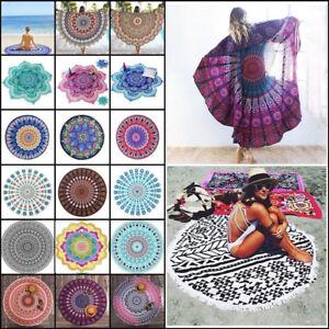Boho Mandala Beach Mat Towel Throw Hippie Blanket Indian Beach Round Tapestry^