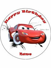 """CARS LIGHTNING McQUEEN 19CM ROUND WAFER PAPER WITH BONUS 2"""" CUPCAKE TOPPERS (12)"""