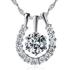 Russian CZ Crystal Sterling Silver Horseshoe Lucky Necklace Pendant Jewelry Gift