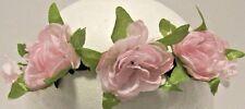 Head Band Adult Stretch Pink Silk Floral Bridal Beach Wedding Braided  NWT L620