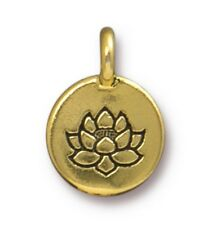 TierraCast Lotus Charm, Antiqued Gold Plated Pewter, Authorized Dealer (T102)