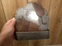 antique Victorian tin mirror comb holder and 2 vintage wooden combs lot of 3