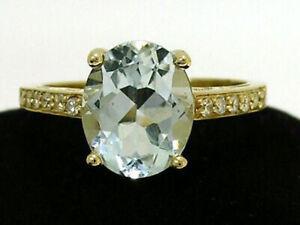 R169 Genuine 9K or 18K Gold Natural Oval Aquamarine & Diamond Engagement Ring