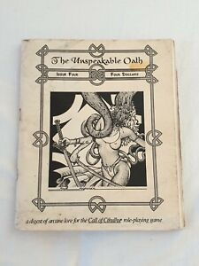 UNSPEAKABLE OATH ISSUE 4 CALL OF CTHULHU PAGAN PUBLISHING Rare 1991 RPG vintage