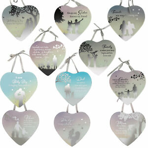 Reflections Mirror Glass Hanging Heart Plaque Gift – Choose Design