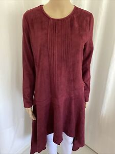Jasi & Co Red Wine Stretch Faux Suede High-Low Hemline Tunic Dress 12 NWT