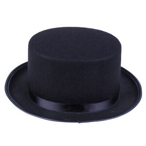 Black Top Hat Magician Costume Tuxedo Mat Hatter Wedding Christmas Party F*AU