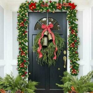 9ft Red Christmas Garland Pre Lit LED Light Wreath Pine Window Stairs Xmas Decor