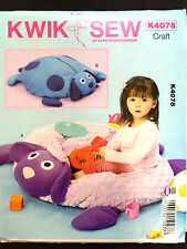 4078 KWIK SEW Childs Stuffed Lamb Dog Ball Pit Fleece Toy Bag Zip Mat Pattern UC