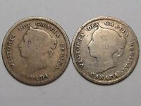 2 Canadian Silver 5 Cent Coins: 1881-H & 1888.  #20