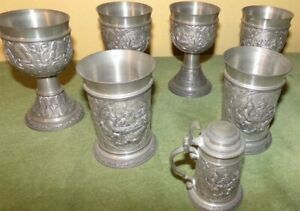 SKS ZINN 95% Pewter Stein Made In Germany Lot of 7 Pcs
