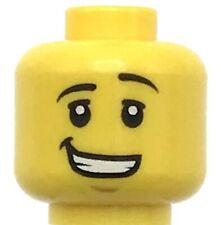 Lego New Yellow Minifigure Head Dual Sided Lopsided Smile Black Eyes Sunglasses