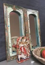 ANTIQUE/VINTAGE INDIAN TEMPLE MIRRORS. ART DECO PAIR. JADE, TEAL, LILAC & PINK.
