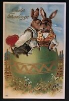 ~Dressed Romantic Rabbits in Egg with Heart~Antique~Easter FANTASY POSTCARD-a741