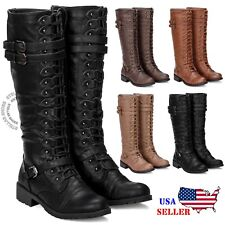 f055407a9de5 Womens Knee High Lace Up Buckle Fashion Military Combat Boots PU-Leather  Riding
