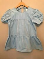 BNWT ZARA SKY BLUE TOP WITH TIERS AND SHORT SLEEVES TOP SIZE XS