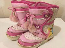 Girls Disney Princess Light Up Winter Snow Boots Size 9 EUC
