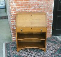 English Antique Oak Art & Craft Front Drop Desk