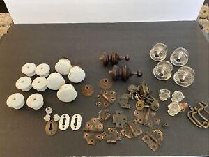Vintage Drawer Pulls Hardware Lot Glass Porcelain Hinges Key Plate