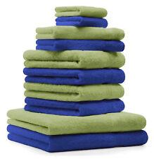 Betz lot de 10 serviettes Premium: bleu royal & vert pomme, 100% coton