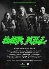 "Over Kill ""Australian Tour 2018"" Concert Poster - Thrash Metal Music"