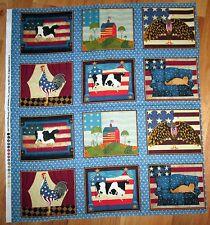 "1 Warren Kimble ""Patriotic Animals"" Fabric Quilting/Wallhanging Crafting Panel"